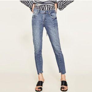 ZARA WOMAN | Distressed Step Hem Jeans